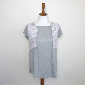 KNOX ROSE Gray & Pink Lace Exposed Zipper Top S